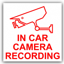 1 x In Car Camera Recording Sticker-CCTV Sign-87x87mm-Van,Lorry,Truck,Taxi,Bus,Mini Cab,Minicab-External,Red on White-Go Pro,Dashcam